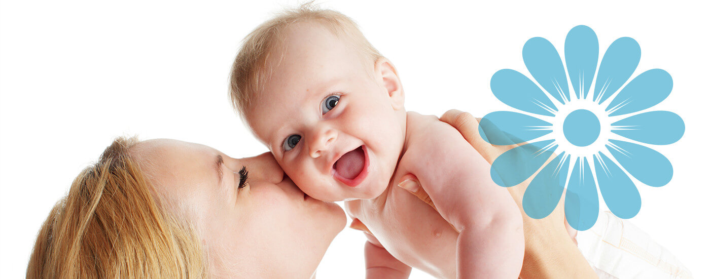 mother kissing baby banner